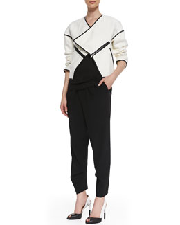10 Crosby Derek Lam Faux-Leather Trim Open Jacket, Slub Knit Tank & Pleated Crepe Trousers