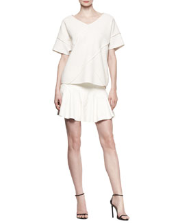 10 Crosby Derek Lam Oversized Cross-Seamed Shirt and Yoked Leather Ruffle Skirt