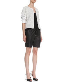 10 Crosby Derek Lam Knotted Leather-Sleeve Jacket, Slub Knit Tank & Long Leather Boxer Shorts