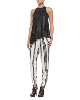 10 Crosby Derek Lam Seamed Leather Shell with Ruffle & Striped Pleated Trousers