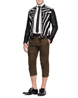 Dsquared2 Zebra-Print Combo Jacket and Cropped Cutoff Pants