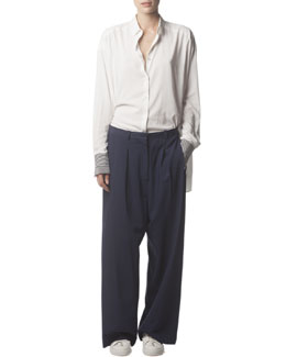 Acne Studios Long-Sleeve Button-Up Collared Shirt & Wide-Leg Trousers