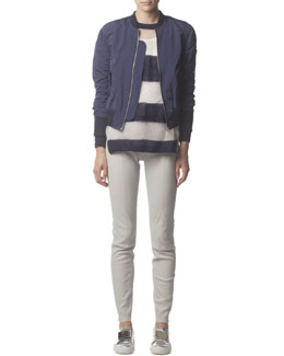 Acne Studios Zip-Up Tech Fabric Bomber Jacket, Mohair-Blend Striped Long-Sleeve Sweater & Skinny Leather Pants