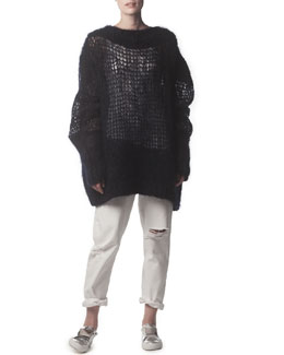 Acne Studios Oversized Knit Sweater & Distressed Ripped Jeans