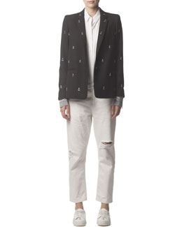 Acne Studios Wool Blazer with Silver Anchor Studs, Long-Sleeve Button-Up Collared Shirt & Distressed Ripped Jeans