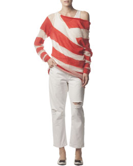 Acne Studios Asymmetric Striped Mohair-Blend Wide-Neck Sweater & Distressed Ripped Jeans