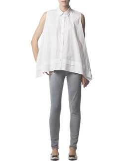 Acne Studios Sleeveless Collared Button-Down Blouse & Skinny Jeans