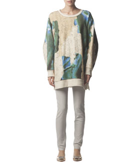 Acne Studios Long-Sleeve Avedon Print Sweatshirt & Skinny Leather Pants