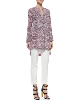 Derek Lam Long-Sleeve Printed Tunic and Cropped Cigarette Pants
