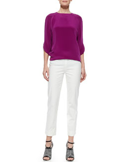 Derek Lam 3/4-Sleeve Raglan Blouse and Cropped Cigarette Pants