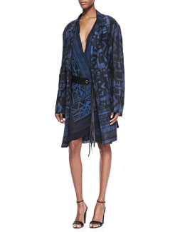 Donna Karan Tribal Printed Topper & Printed Wrap Dress with Single-Grommet Leather Belt