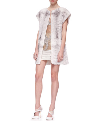 Short-Sleeve Perforated Mink Fur Vest, Leaf-Embroidered Sparkling Tank Top ...