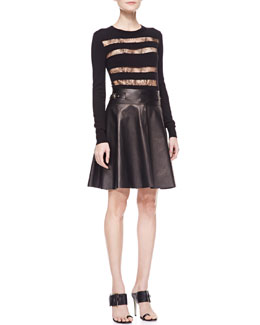 Jason Wu Lace-Striped Long-Sleeve Top & Buckled Lambskin Leather Skirt