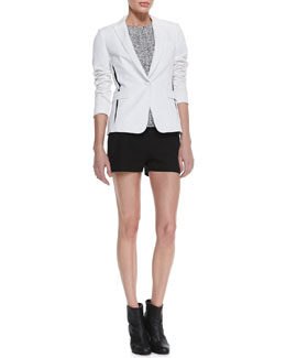 Rag & Bone Slash Single-Button Blazer, Oda Tweed-Front Top & Tatiana Leather-Trim Shorts