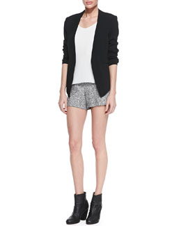 Rag & Bone Teresa Peekaboo-Back Blazer, Chieftain Leather-Trim Racerback & Florence High-Waist Tweed Shorts