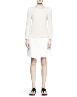 Rag & Bone Rita Waffle Knit Sweater and Edburg Asymmetric Combo Wrap Skirt