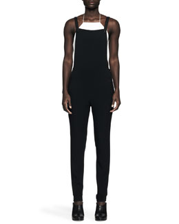 Rag & Bone Daytona Leather Halter Crop Top and Box Crepe Overalls Jumpsuit