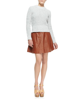 Michael Kors  Waffle Crewneck Sweater & Leather A-Line Skirt