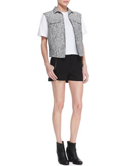 Rag & Bone Trucker Tweed Pocket Vest, Oversized Boyfriend Tee & Tatiana Leather-Trim Shorts