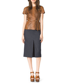 Michael Kors  Python Cap-Sleeve Tee, Front-Slit Pencil Skirt & Skinny Leather Loop Belt