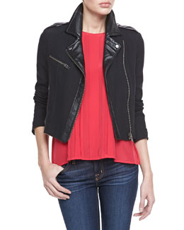 Joie Tommi Faux-Leather Trim Moto Jacket & Orah Pleated Sleeveless Blouse