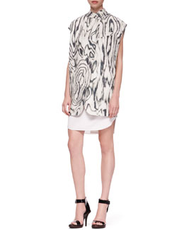 3.1 Phillip Lim Organic Oversized Printed Vest and Cap-Sleeve Bib Shirtdress