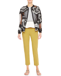 3.1 Phillip Lim Geode Embroidered Chiffon Jacket, Grid-Print Silk Halter Tank & Classic Pencil Pants