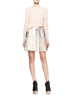 Proenza Schouler Long-Sleeve Merino Pullover and Pleated Foil Short Skirt