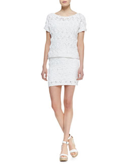 Ralph Lauren Black Label Short-Sleeve Easy-Open Crochet Top & Short Skirt