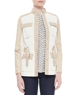 Tory Burch Tenley Two-Tone Belted Jacket & Adrienne Floral-Print Blouse