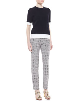 Tory Burch Rosemary Twofer 3/4-Sleeve Sweater & Heidi Slim Fit Print Pants