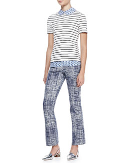 Tory Burch Alexandria Striped/Floral-Print Top & Kinsley Crosshatch Ankle Pants