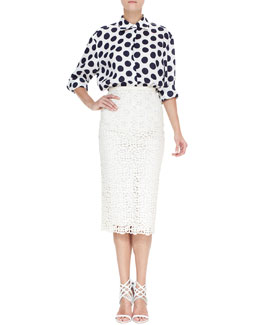 Burberry Prorsum Large Dot Linen Oversized Shirt & Curlicue Embroidered Midi Skirt