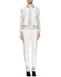 Erdem Lace Organza Jacket and Trousers & Script-Print Lace Shell