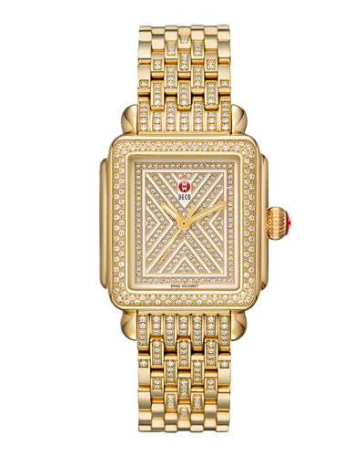 MICHELE Limited Edition Deco Diamond-Dial Watch Head & 18mm Deco Diamond Bracelet