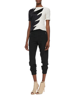 MARC by Marc Jacobs Flame-Print Two-Tone Top & Frances Crepe Track Pants