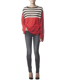 Acne Studios Long-Sleeve Striped Silk Top & Skinny Jeans
