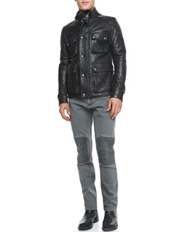 Belstaff Langford Quilted Leather Jacket, Ketley Jersey Short-Sleeve T-Shirt & Blackrod Denim Moto Jeans