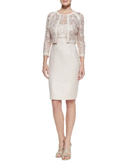 Kay Unger New York Lace Illusion-Neck Tweed Cocktail Dress & Long-Sleeve Lace Metallic Jacket