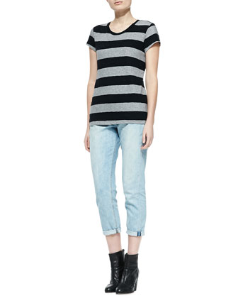 Brando Striped Slub Tee & Light-Wash Cropped Boyfriend Jeans
