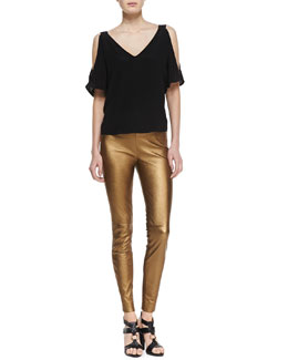 Ralph Lauren Black Label Giana Cold-Shoulder Top and Metallic Leather Skinny Pants