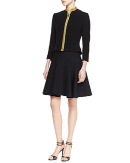 Ralph Lauren Black Label Andover Passementerie Wool Jacket and Raynor Neoprene A-Line Dress
