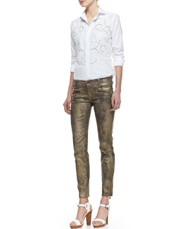 Ralph Lauren Black Label Luxury Broadcloth Embroidered Shirt and 400 Blackened Gold Pants