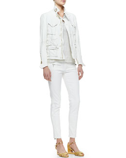Ralph Lauren Black Label Heavy-Wash Lambskin Jacket, Boat-Neck Modern Netting Top, Teaser Tank Top & 400 Zip Matchstick Jeans