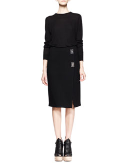 Proenza Schouler Long-Sleeve Merino Pullover and Turn-Lock Pencil Skirt