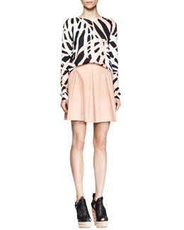 Proenza Schouler Long-Sleeve Printed Shirt and Pleated Leather Skirt
