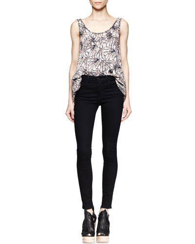 Proenza Schouler Printed Tiered-Hem Top and Ultra-Skinny Ankle Jeans