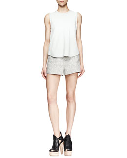 Proenza Schouler Leather Tie-Back Shell and High-Waist Tweed Shorts