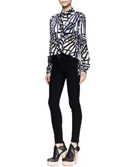 Proenza Schouler Printed Button-Front Blouse & Ultra-Skinny Ankle Jeans