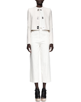 Proenza Schouler Turnlock-Front Lady Jacket, Cropped Folded Sleeveless Top & High-Waist Cropped Pants